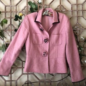 Pink blazer with black net piping and rose buttons